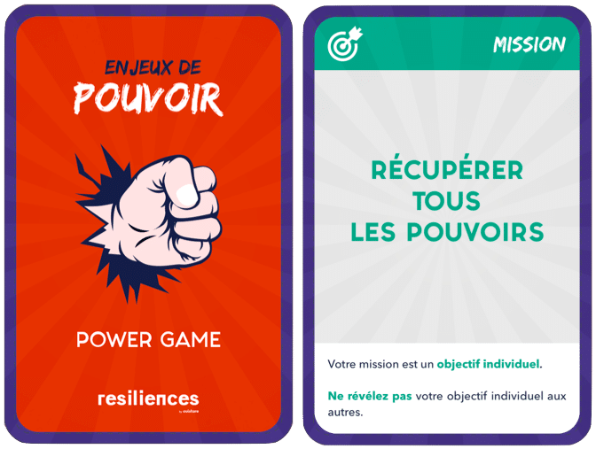 Cartes pouvoir mission serious game resiliences